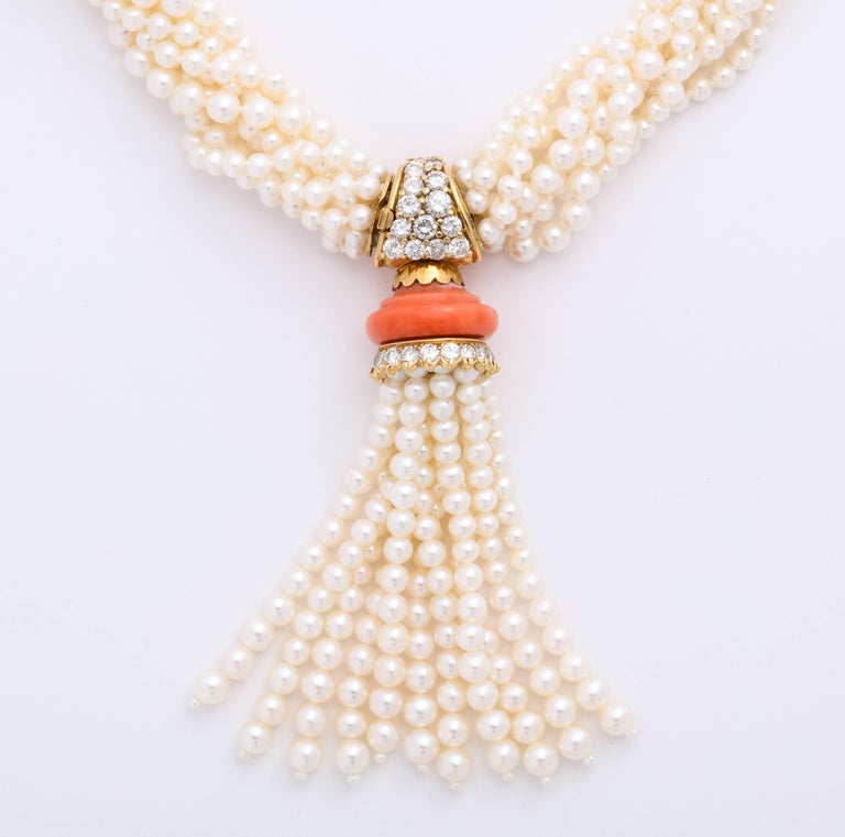 Contemporary Boucheron 18 Karat Gold Cultured Pearl Coral and Diamond Necklace
