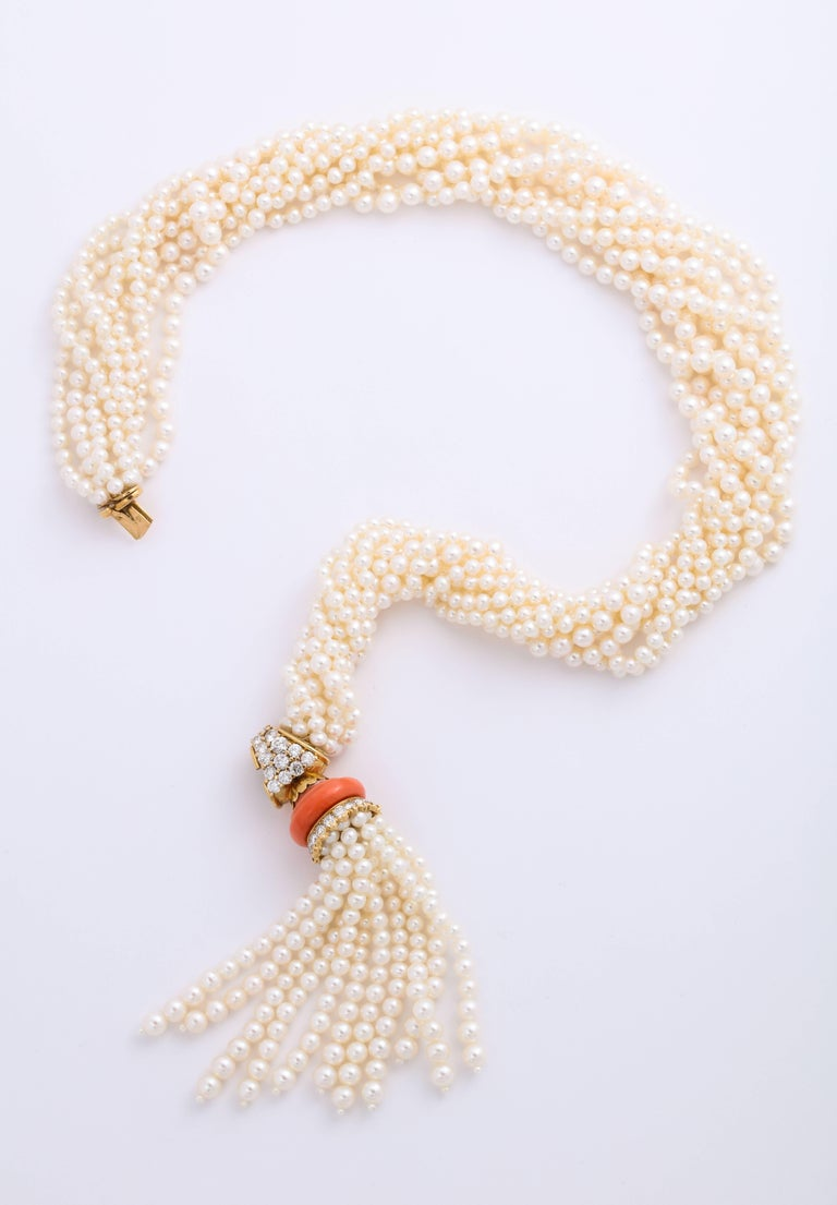 Boucheron 18 Karat Gold Cultured Pearl Coral and Diamond Necklace In Excellent Condition In New York, NY