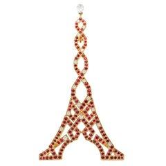 Boucheron 18 Karat Gold Eiffel Tower Ruby Diamond Brooch