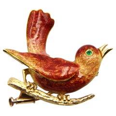 Boucheron 18k Gold Enamel Emerald Bird Brooch