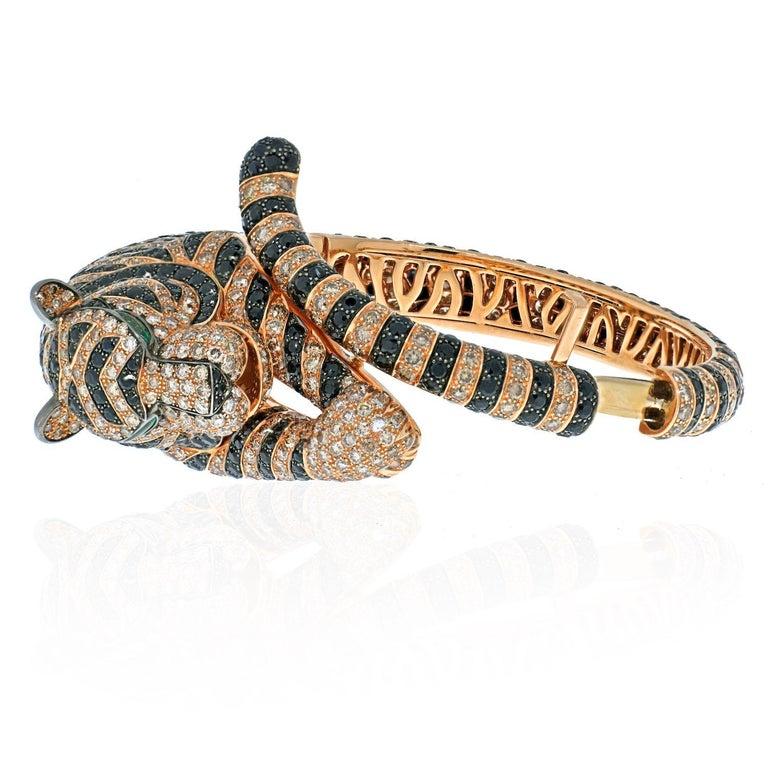Round Cut Boucheron 18k Rose Gold Bagha Tiger Diamond Bangle Bracelet For Sale