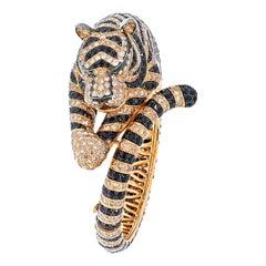 Boucheron 18k Rose Gold Bagha Tiger Diamond Bangle Bracelet
