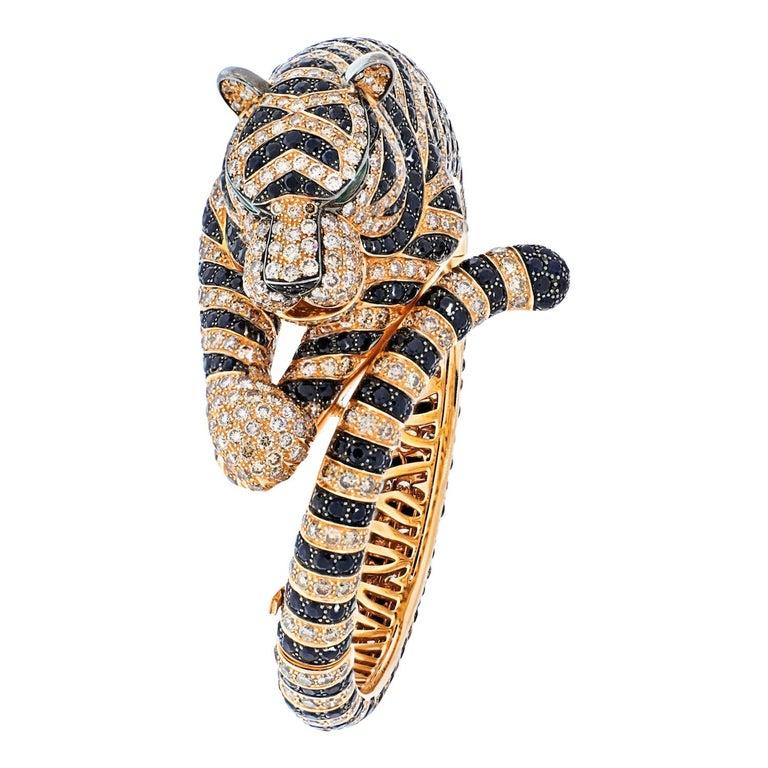 Boucheron 18k Rose Gold Bagha Tiger Diamond Bangle Bracelet For Sale