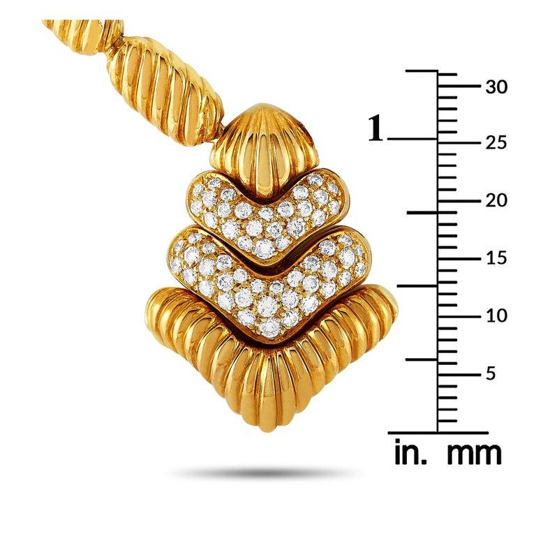Boucheron 18 Karat Yellow Gold 1.50 Carat Diamond Necklace For Sale 1