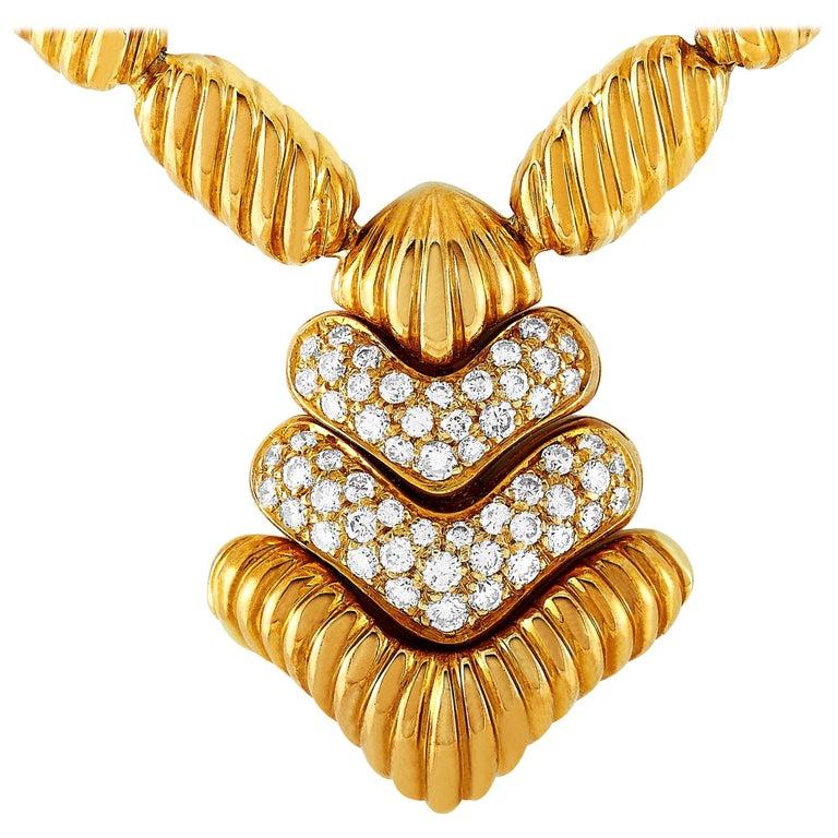 Boucheron 18 Karat Yellow Gold 1.50 Carat Diamond Necklace For Sale