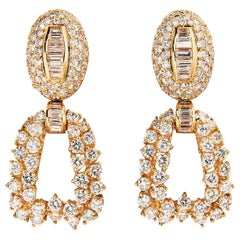 Boucheron 18 Karat Yellow Gold and Diamond Day and Night Earrings