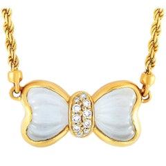 Boucheron 18 Karat Yellow Gold Diamond and Crystal Necklace