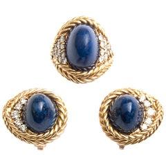 Boucheron Gold, Diamant und Lapis Lazuli Ring und Ohrringe Set