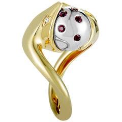 Boucheron 18 Karat Yellow Gold Diamond and Ruby Snake and Sphere Ring