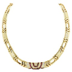 Boucheron 18 Karat Yellow Gold Diamond Pave and Ruby Collar Necklace