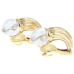 Boucheron 18 Karat Yellow Gold and Rock Crystal Huggie Hoop Earrings 12.2g