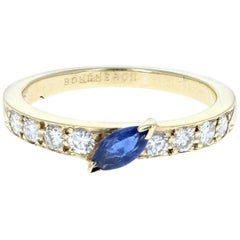 Boucheron 18 Karat Yellow Gold, Sapphire and Diamond Ring 3.1g