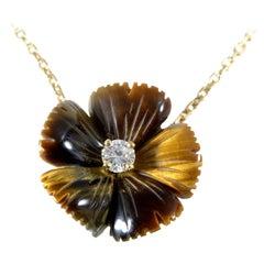 Boucheron 18 Karat Yellow Gold Tiger's Eye and Diamond Pendant Necklace