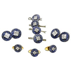 Boucheron 1925 Art Deco Sapphire, Square Cut Diamond Platinum Dress Set