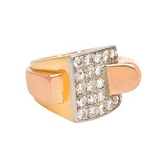 Boucheron 1940s Two-Color Gold and Diamond Sculptural Ring
