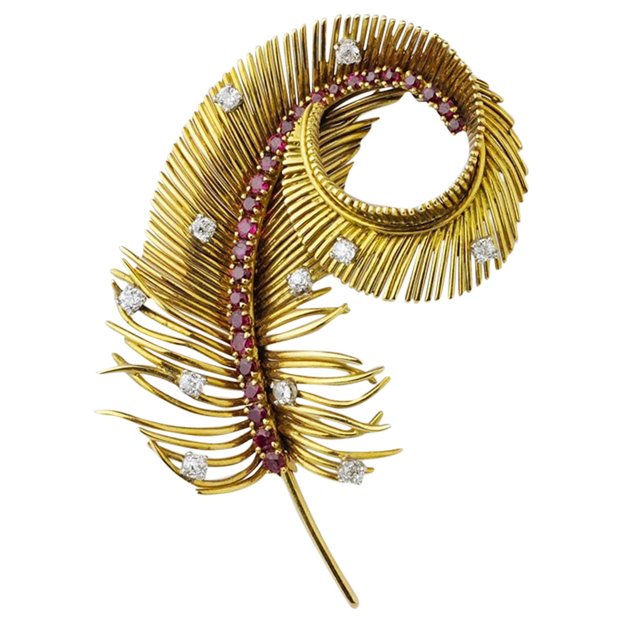 Boucheron 1950s 18 Karat Gold, Diamond and Ruby Feather Brooch Pin