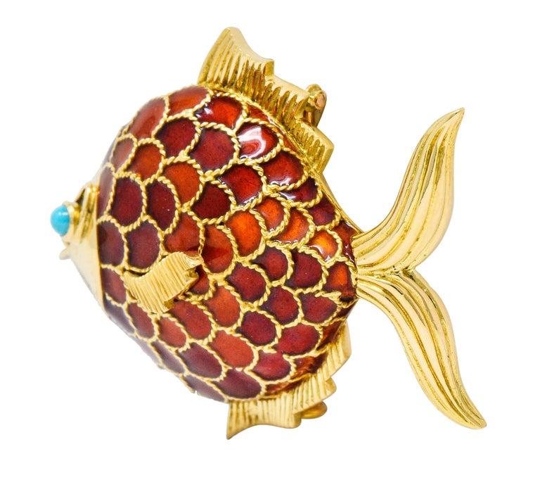 Cabochon Boucheron 1950s Midcentury Turquoise Enamel 18 Karat Gold Fish Brooch For Sale