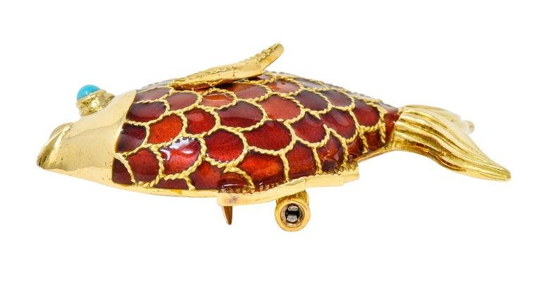 Women's or Men's Boucheron 1950s Midcentury Turquoise Enamel 18 Karat Gold Fish Brooch For Sale