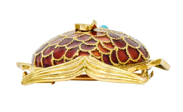Boucheron 1950s Midcentury Turquoise Enamel 18 Karat Gold Fish Brooch For Sale 1