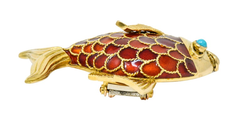 Boucheron 1950s Midcentury Turquoise Enamel 18 Karat Gold Fish Brooch For Sale 2