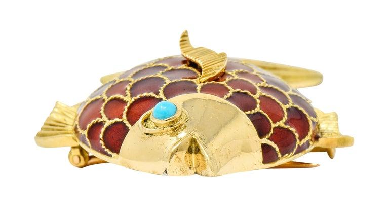 Boucheron 1950s Midcentury Turquoise Enamel 18 Karat Gold Fish Brooch For Sale 3