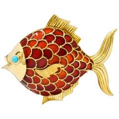 Boucheron 1950s Midcentury Turquoise Enamel 18 Karat Gold Fish Brooch