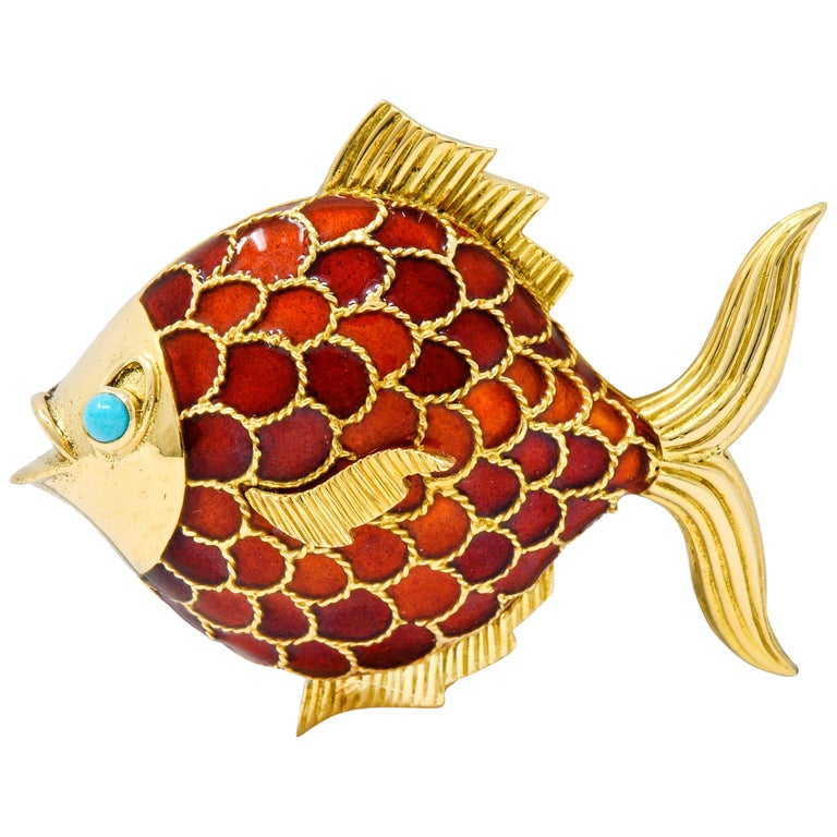 Boucheron 1950s Midcentury Turquoise Enamel 18 Karat Gold Fish Brooch For Sale