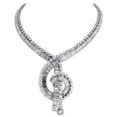 Boucheron 1960s Platinum 111 Carat Magnificent Musical Note Diamond Necklace