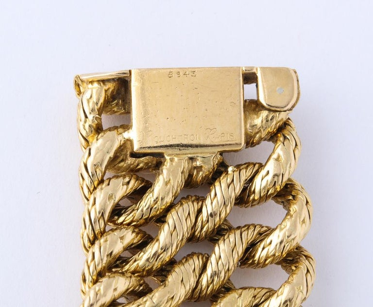 Boucheron 1960s Textured Gold Bracelet For Sale 1