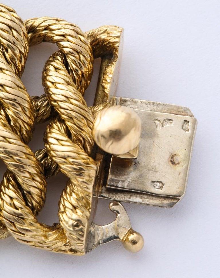 Boucheron 1960s Textured Gold Bracelet For Sale 2