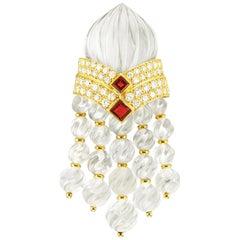 Boucheron a Rock Crystal Ruby and Diamond Brooch