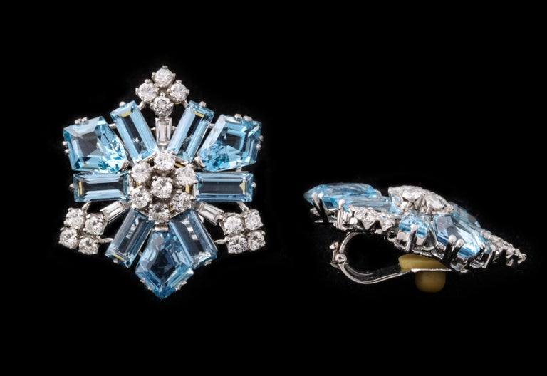 Large size Aquamarine and Diamond Snowflake earrings made by Boucheron   Made in France Circa 1940   With Original box