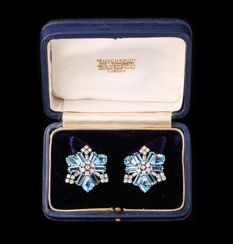 Art Deco Boucheron Aquamarine and Diamond Snowflake Earrings For Sale