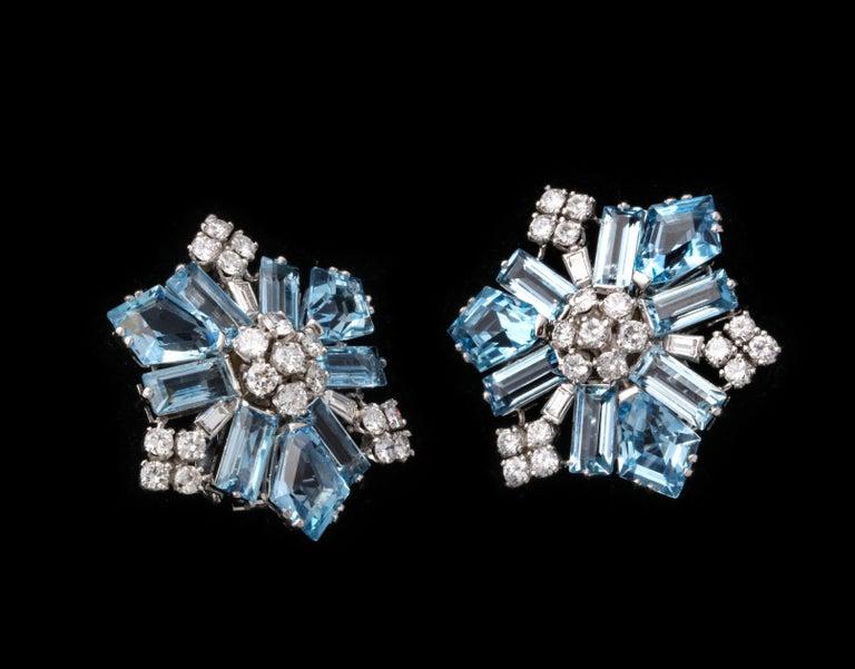 Women's Boucheron Aquamarine and Diamond Snowflake Earrings For Sale
