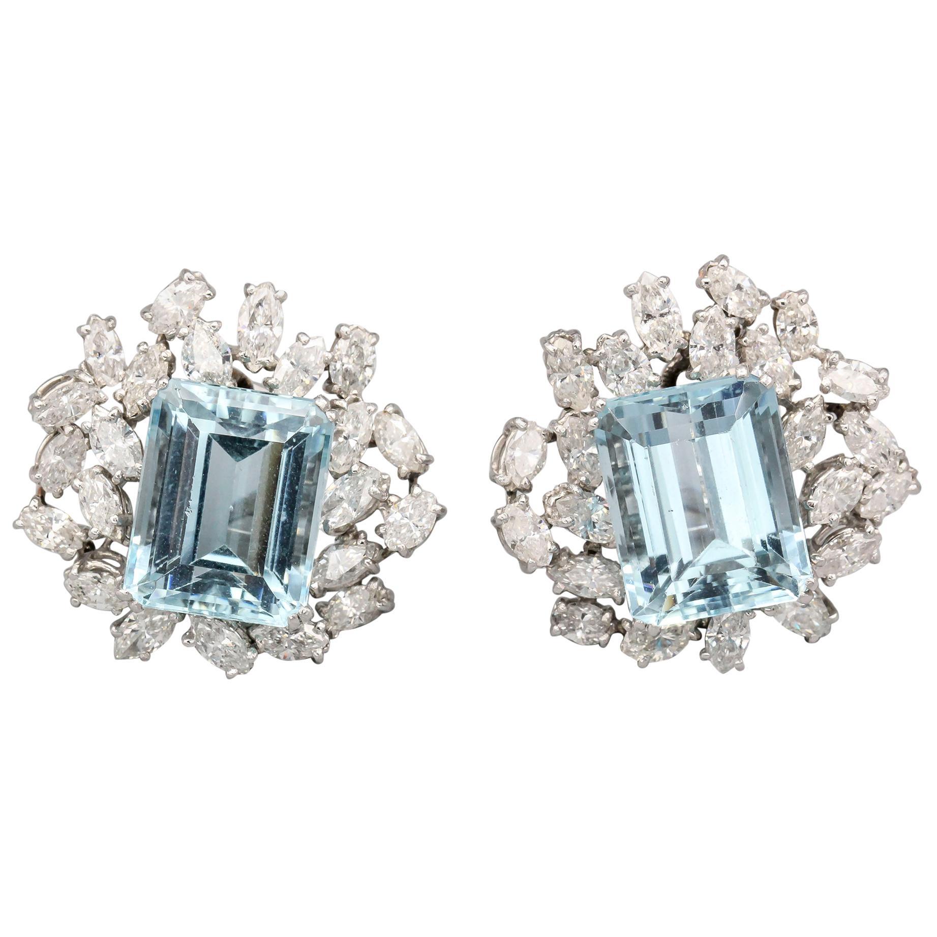 Boucheron Aquamarine Diamond and Platinum Earrings