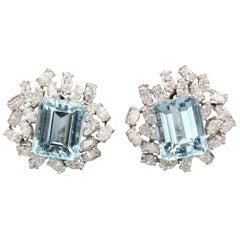 Boucheron Aquamarine Diamond and Platinum Earrings