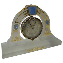 Boucheron Art Deco Rock Crystal, Yellow Gold, Pearl, Enamel Desk Clock in Box