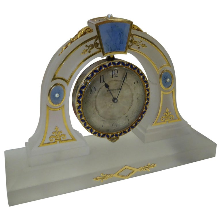 Boucheron Art Deco Rock Crystal, Yellow Gold, Pearl, Enamel Desk Clock in Box For Sale