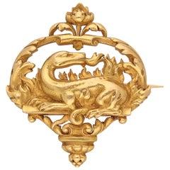 Boucheron Art Nouveau 18 Karat, Yellow Gold Animal Brooch