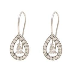 Boucheron Ava 18k White Gold Diamonds Pear Earrings