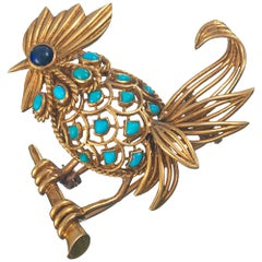 Boucheron Bird Motif Brooch with Turquoise and Lapis
