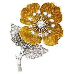"Boucheron Brooch ""Eglantine"" Collection, Enamel and Diamonds"