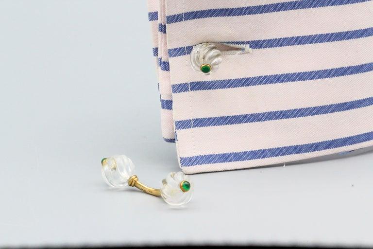 Boucheron Cabochon Emerald Rock Crystal and 18 Karat Gold Cufflinks For Sale 1