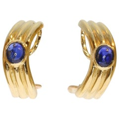 Boucheron Cabochon Sapphire 18 Karat Yellow Gold Clip-On Earrings, 1980s
