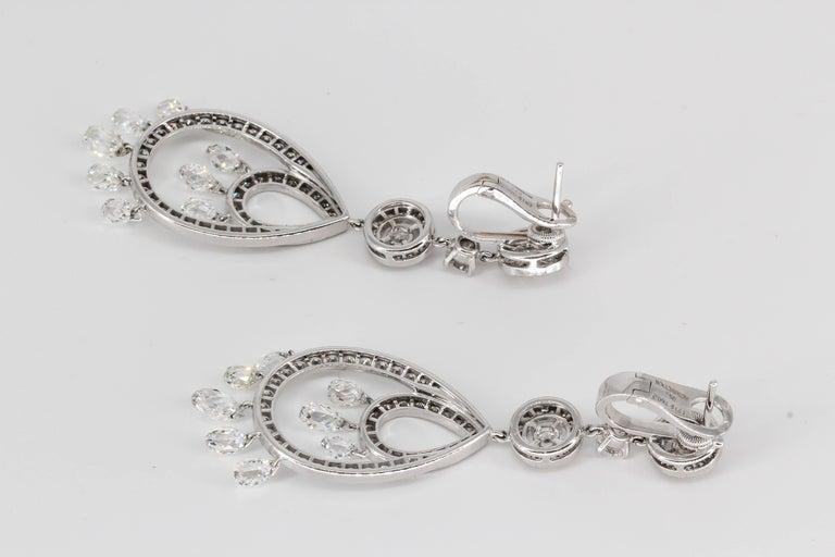 Briolette Cut Boucheron Cinna Pampilles Diamond and White Gold Pendant Earrings For Sale
