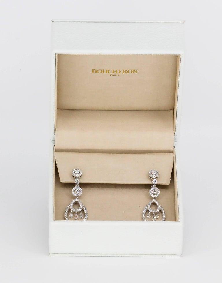 Women's Boucheron Cinna Pampilles Diamond and White Gold Pendant Earrings For Sale