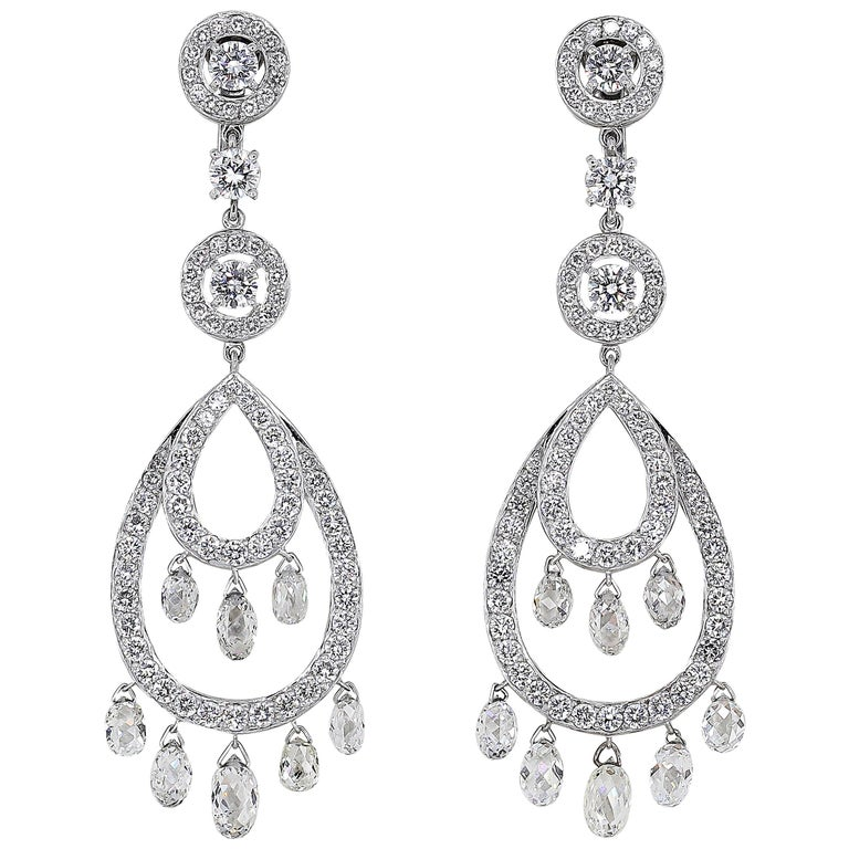 Boucheron Cinna Pampilles Diamond and White Gold Pendant Earrings For Sale