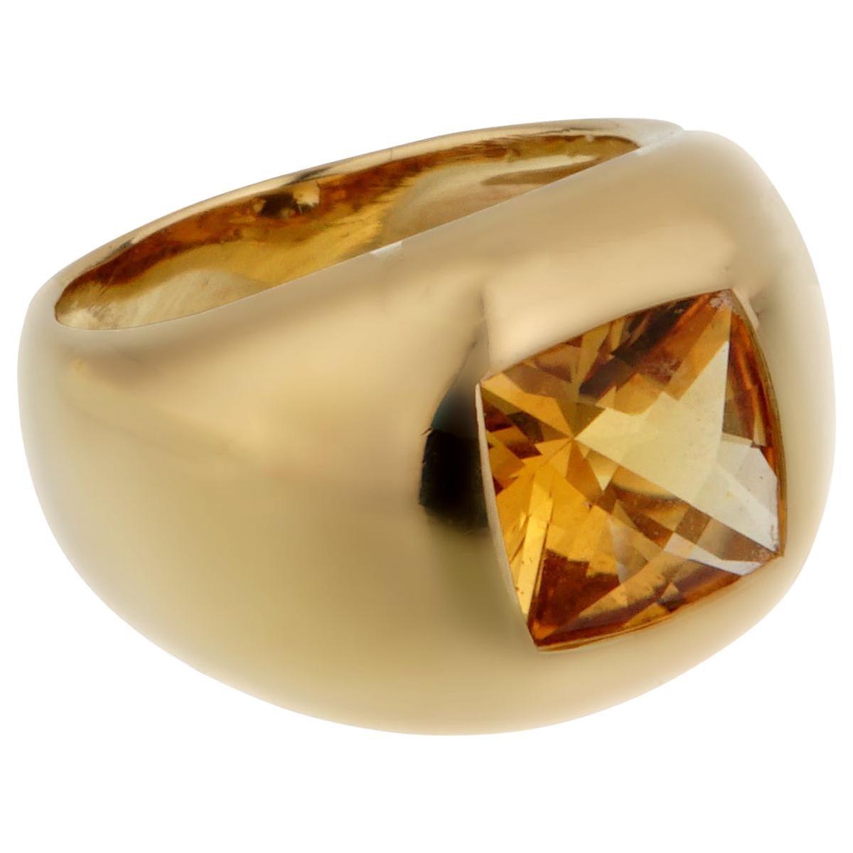 Boucheron Citrine Yellow Gold Cocktail Ring