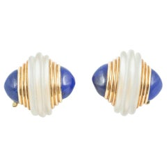 Boucheron Clip Earrings, Frosted Crystal & Lapis Lazuli in 18k Gold, French 1950