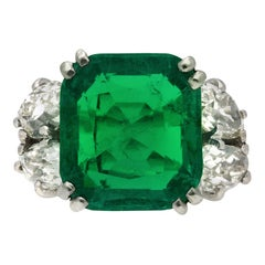 Boucheron Colombian Emerald and Diamond Ring, French, circa 1920